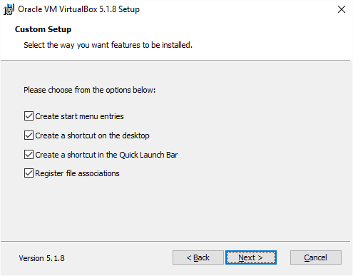 VirtualBox Installation Features Second